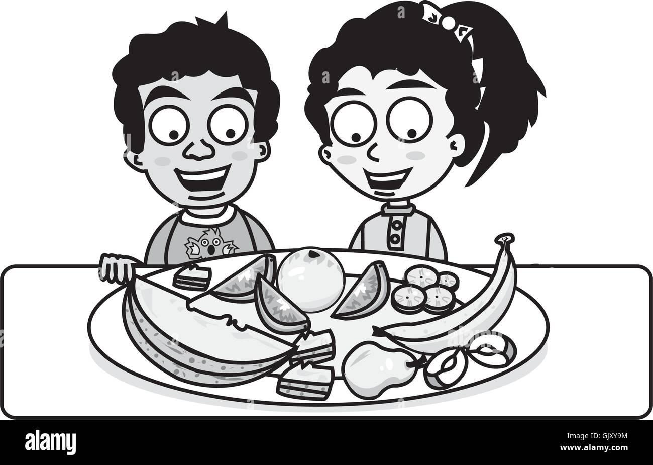 Ethnic Children Eating Healthy Stock Vector Image Art Alamy