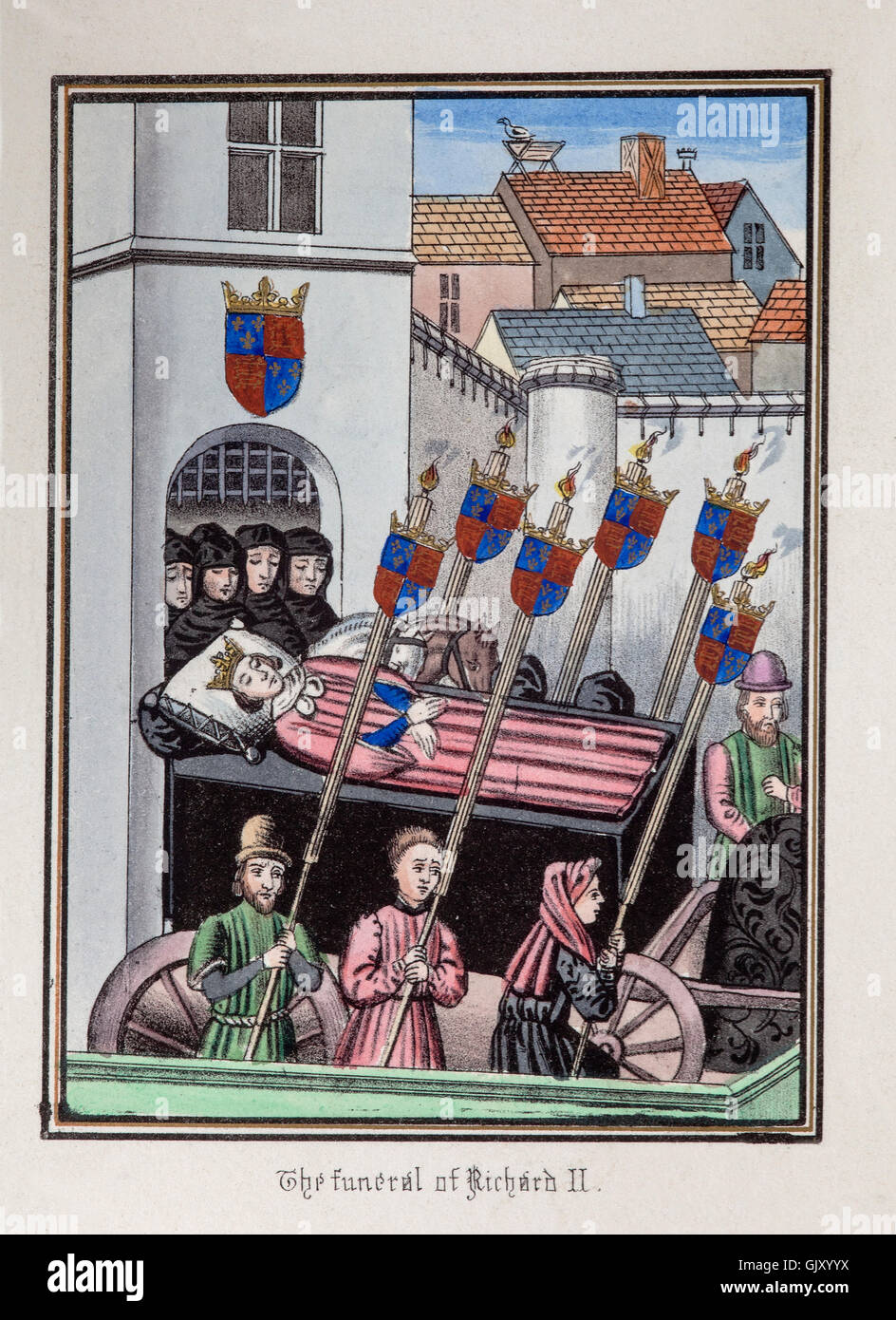 The funeral cortege of Richard II leaving the Tower of London  in 1400. - Stock Image