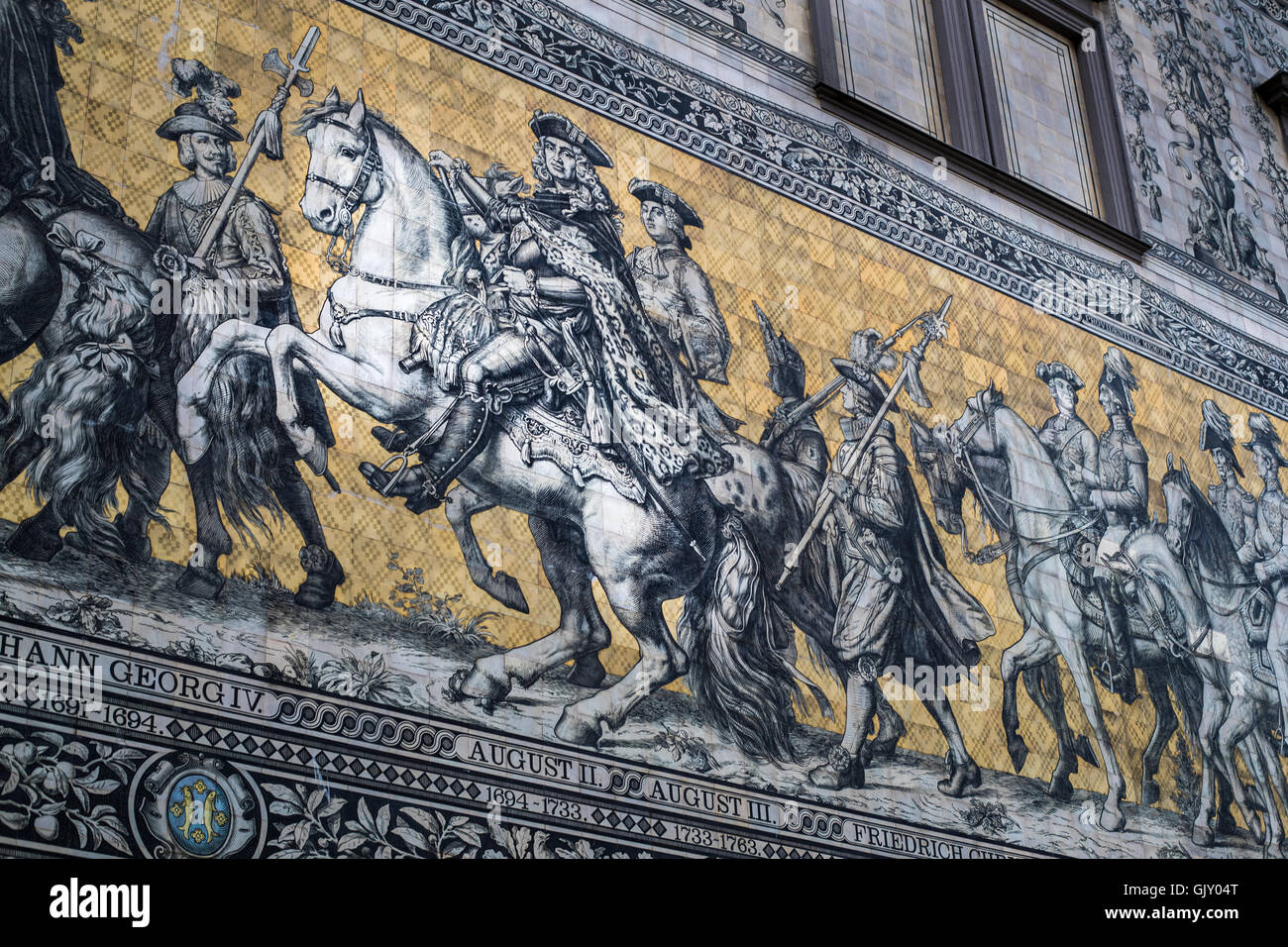 Fürstenzug ('Procession of Princes') mural in Dresden, Germany. August II the Strong (der Starke) in focus. Stock Photo