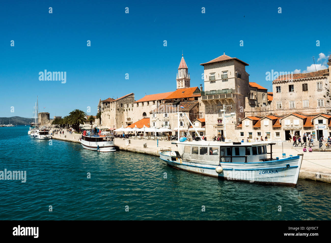 Trogir is a historic town on the Adriatic coast in Split-Dalmatia County, Croatia, Stock Photo