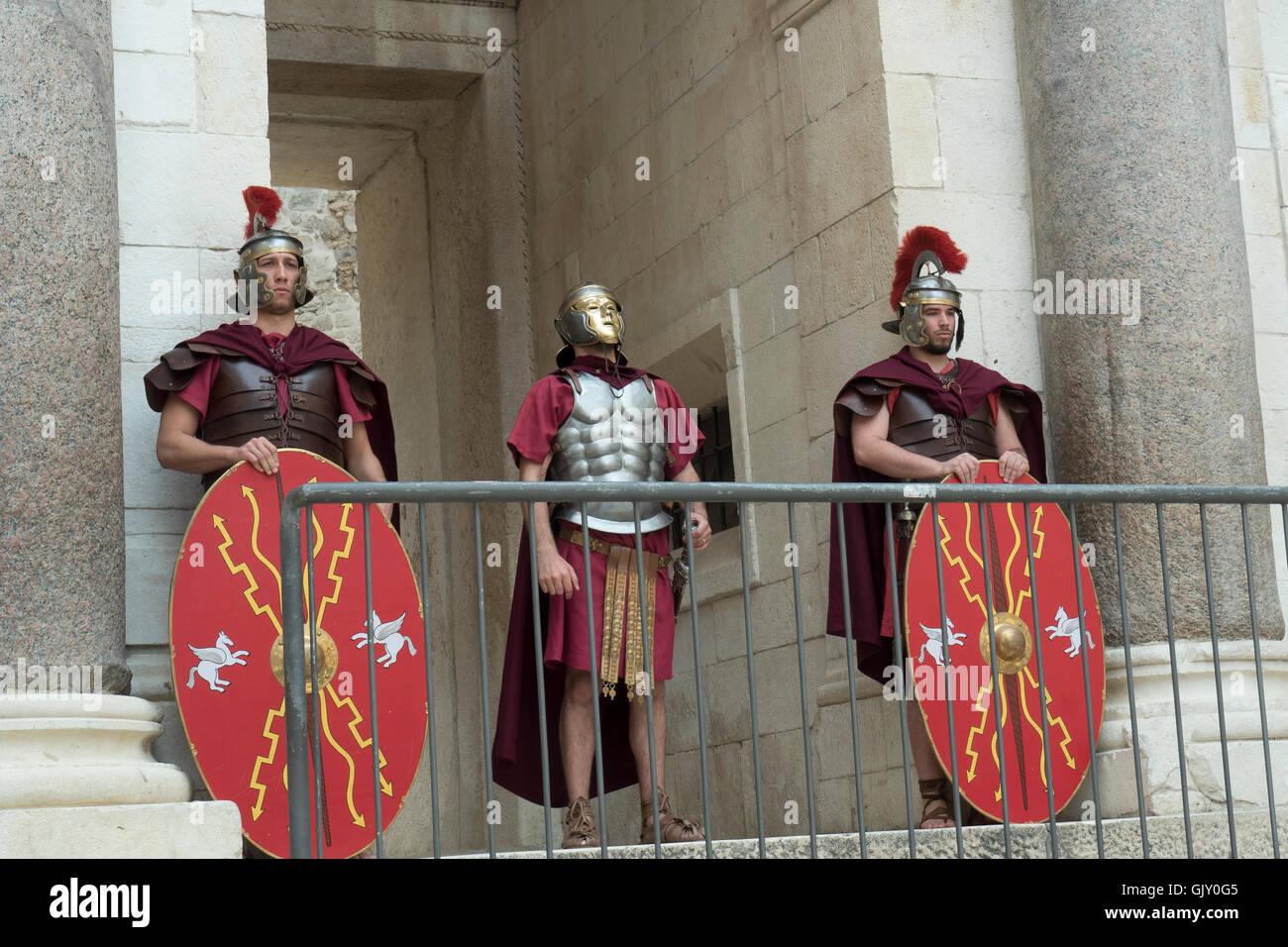 Roman Soldier Enactment, Split, Croatia, Dalmatian Coast, Diocletian's Palace - Stock Image