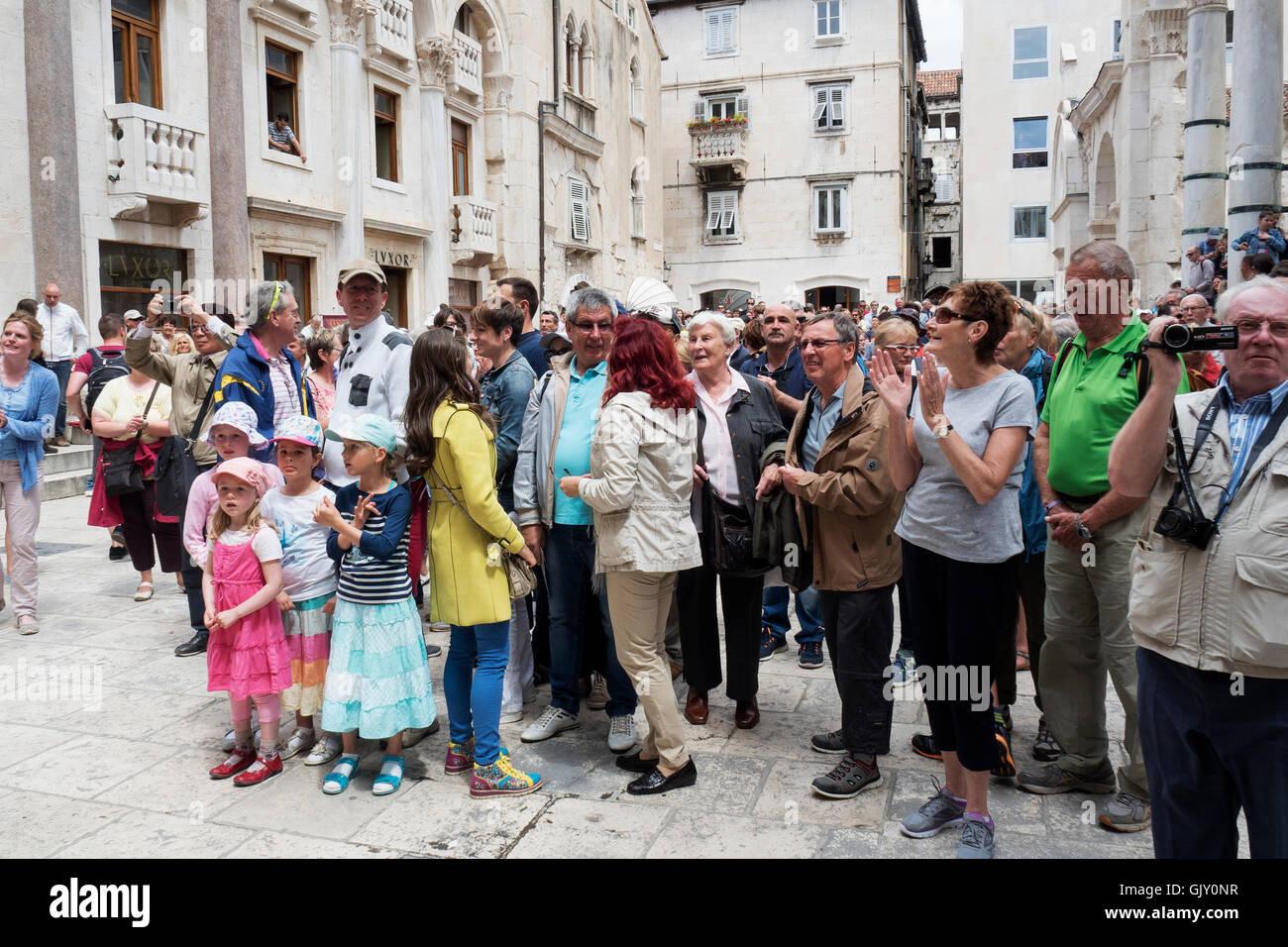 Crowd watching Roman Enactment, Split, Croatia, Dalmatian Coast, Diocletian's Palace - Stock Image