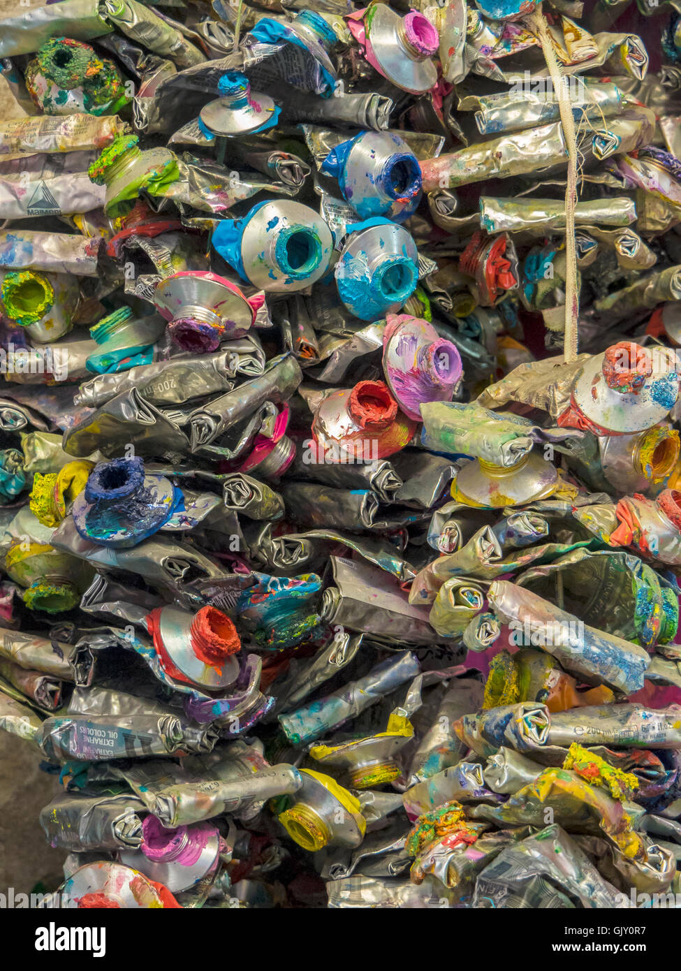 Used Oil Paint Tubes, - Stock Image