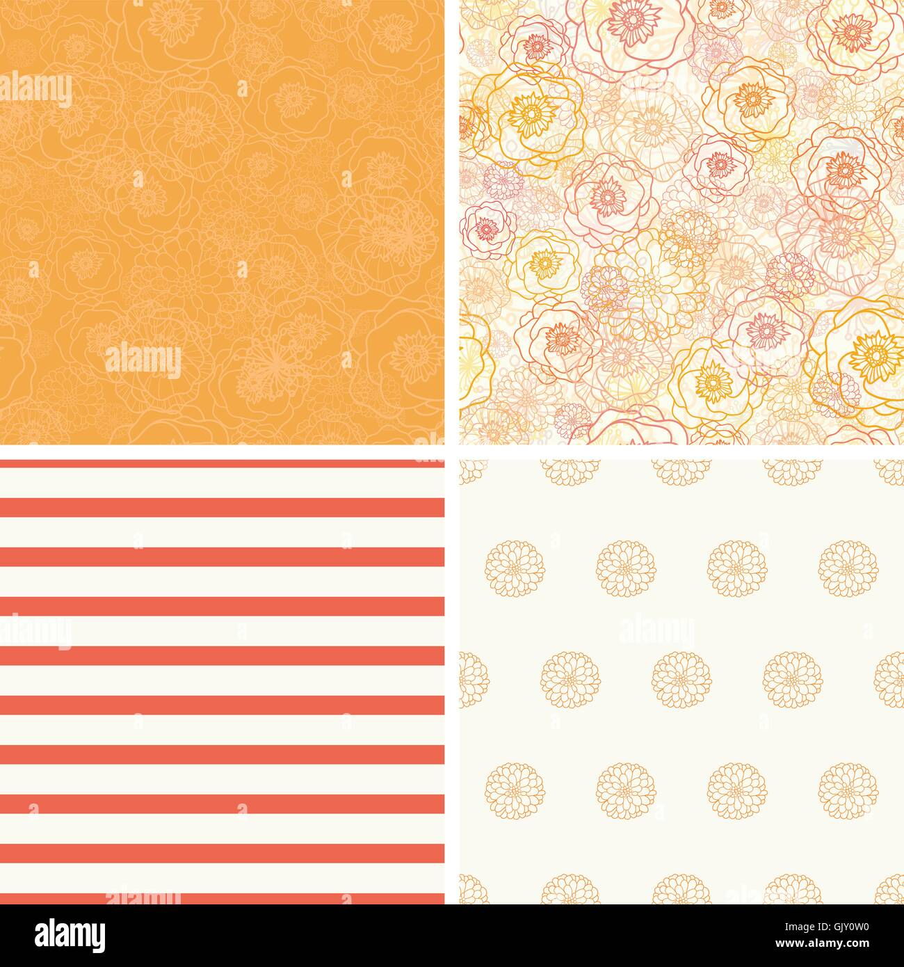 Vector Warm Flowers Set of Four Matching Repeat Patterns - Stock Image