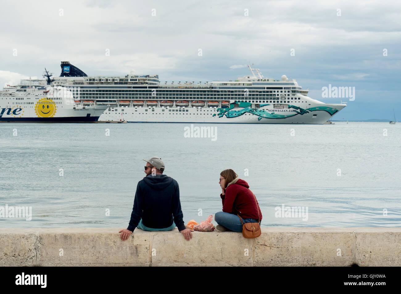 Ferry Port and Cruise Liners, Split, Croatia, Dalmatian Coast - Stock Image