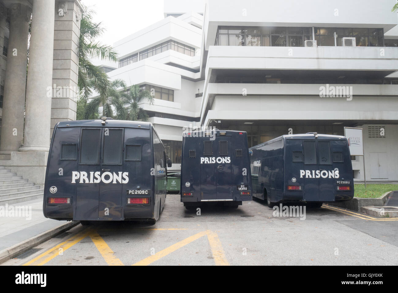 Prison Vans outside the State Courts, Singapore - Stock Image