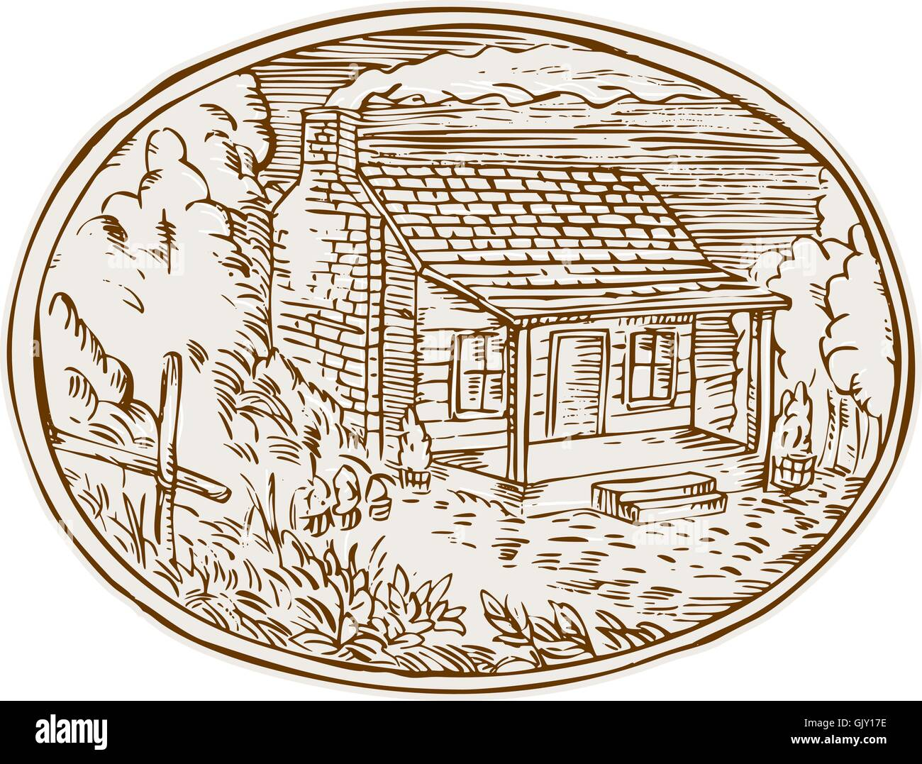 Log Cabin Farm House Oval Etching - Stock Vector
