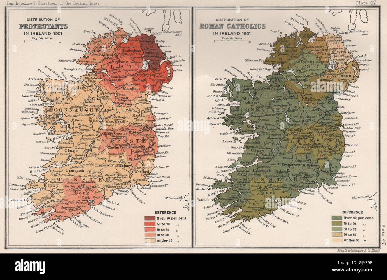IRELAND SECTARIAN. Protestants & Roman Catholics distribution in 1901, 1904 map - Stock Image