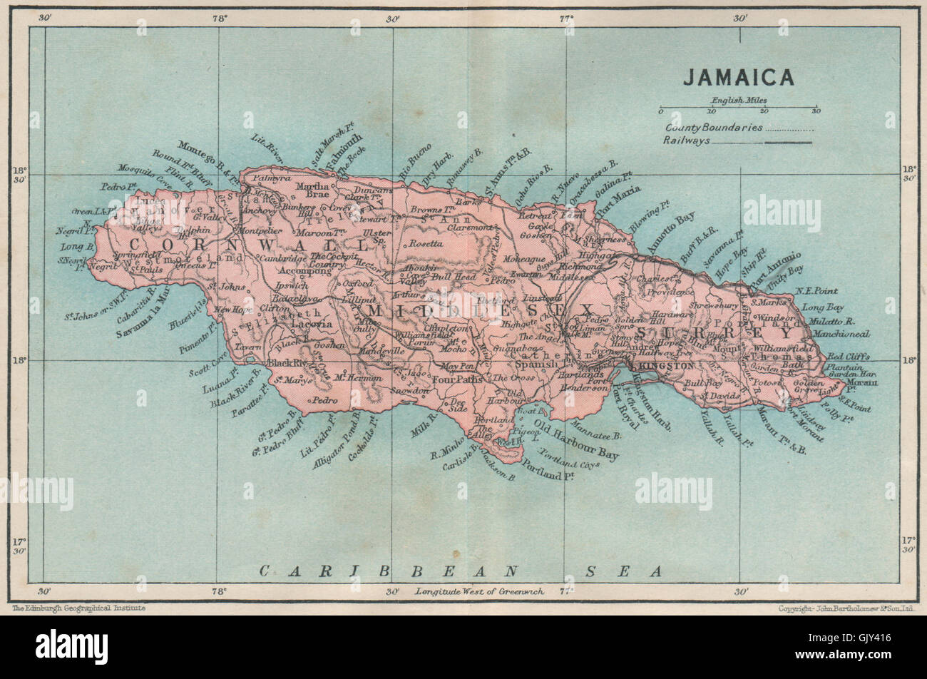 JAMAICA. Vintage map. West Indies. Caribbean, 1927 Stock Photo ...