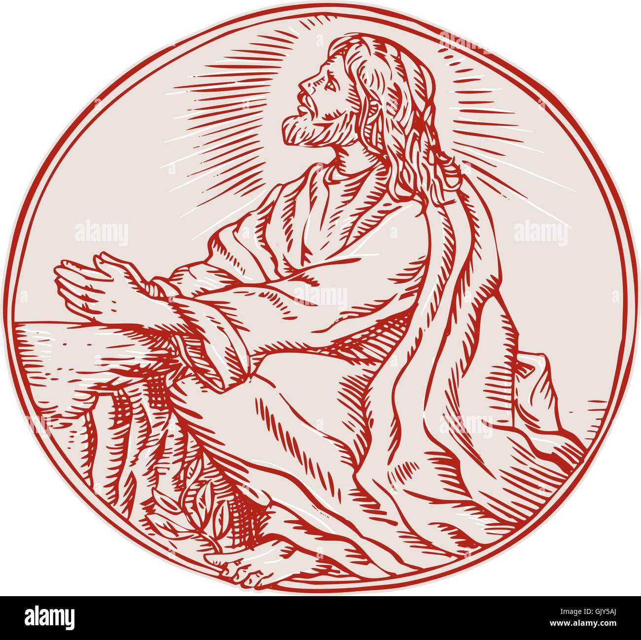 Woodcut Of Christ Stock Vector Images - Alamy