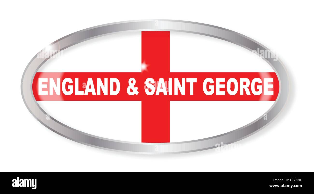 England and Saint George Oval Button - Stock Vector