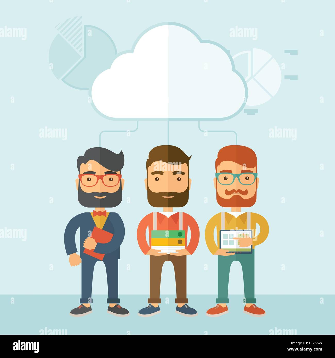 Three managers working together. - Stock Vector