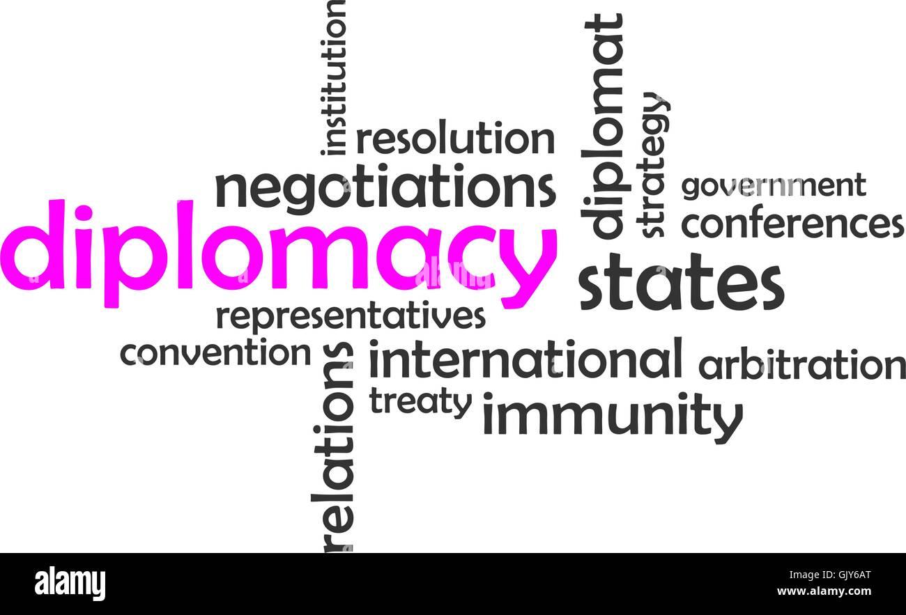 word cloud - diplomacy - Stock Image