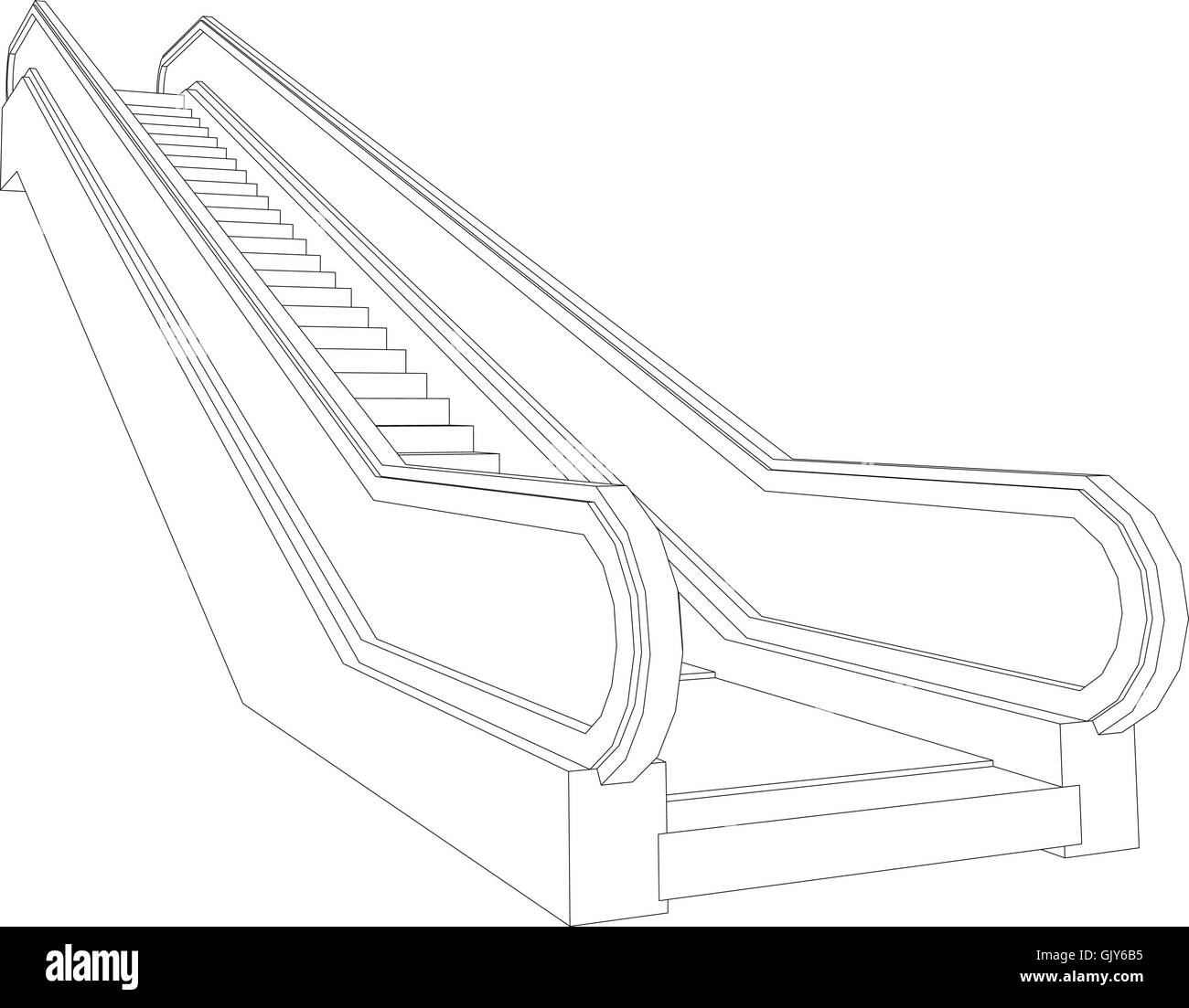 Escalator Cut Out Stock Images Pictures Alamy Schematic Drawing Of Wire Frame Perspective View Vector Illustration Image