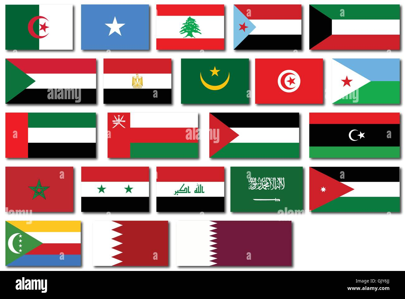 Flags of the Arab League - Stock Vector