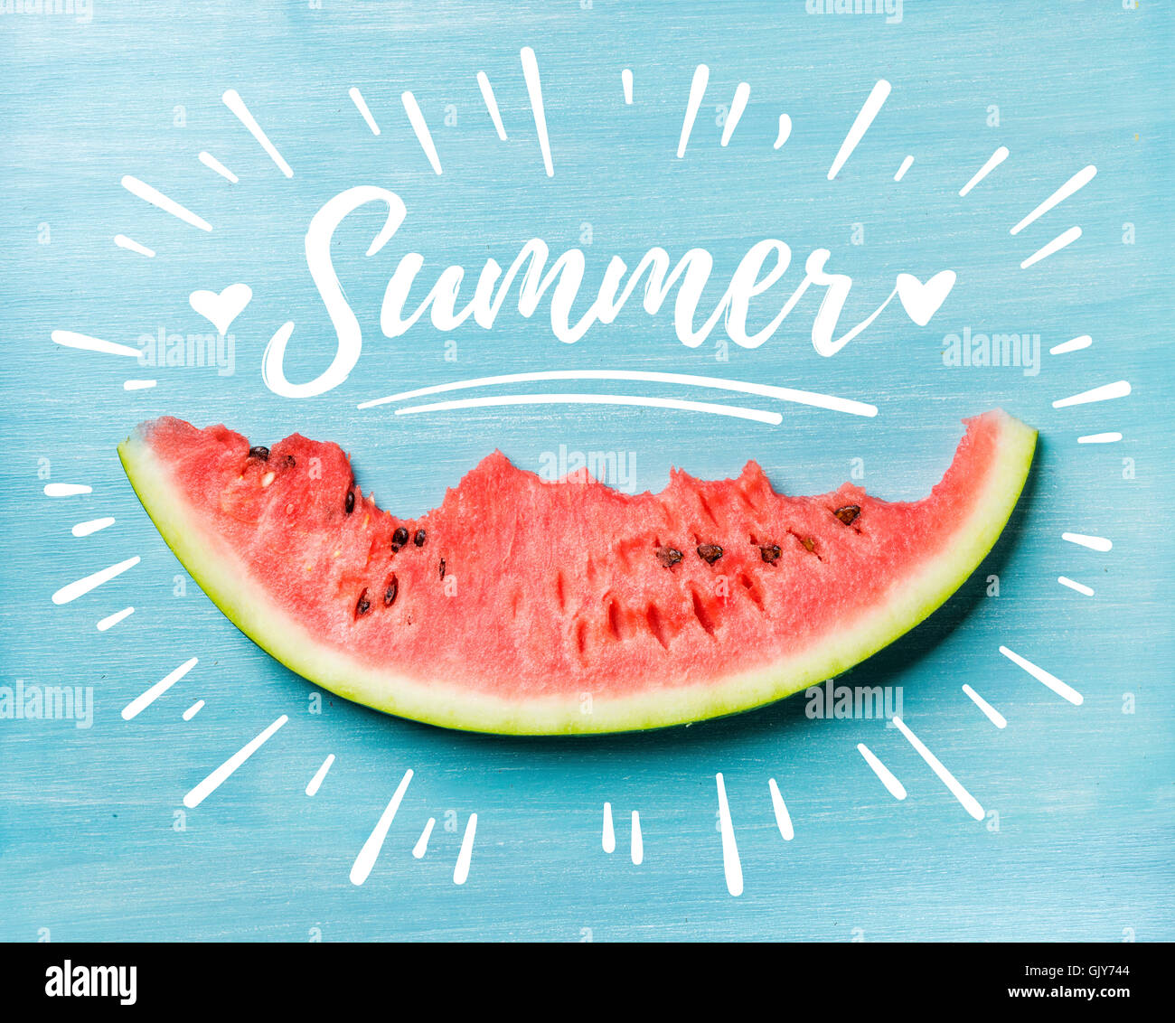 Summer concept illustration. Slice of watermelon on turquoise blue background, top view. White lettering inscription - Stock Image