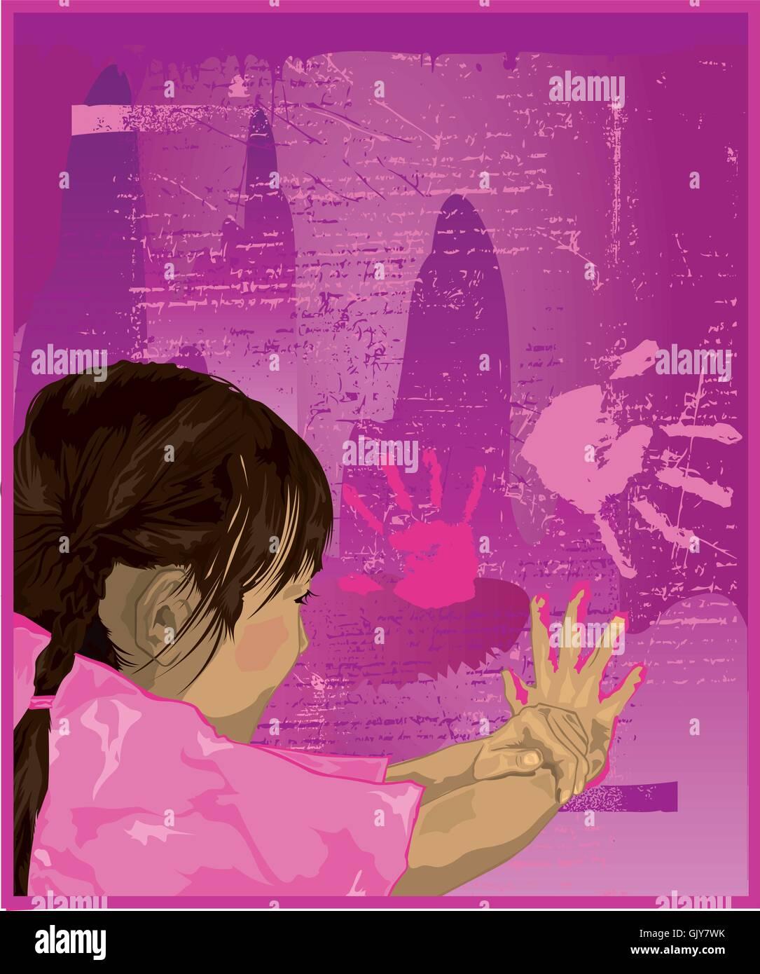 Girl Finger Painting - Stock Image