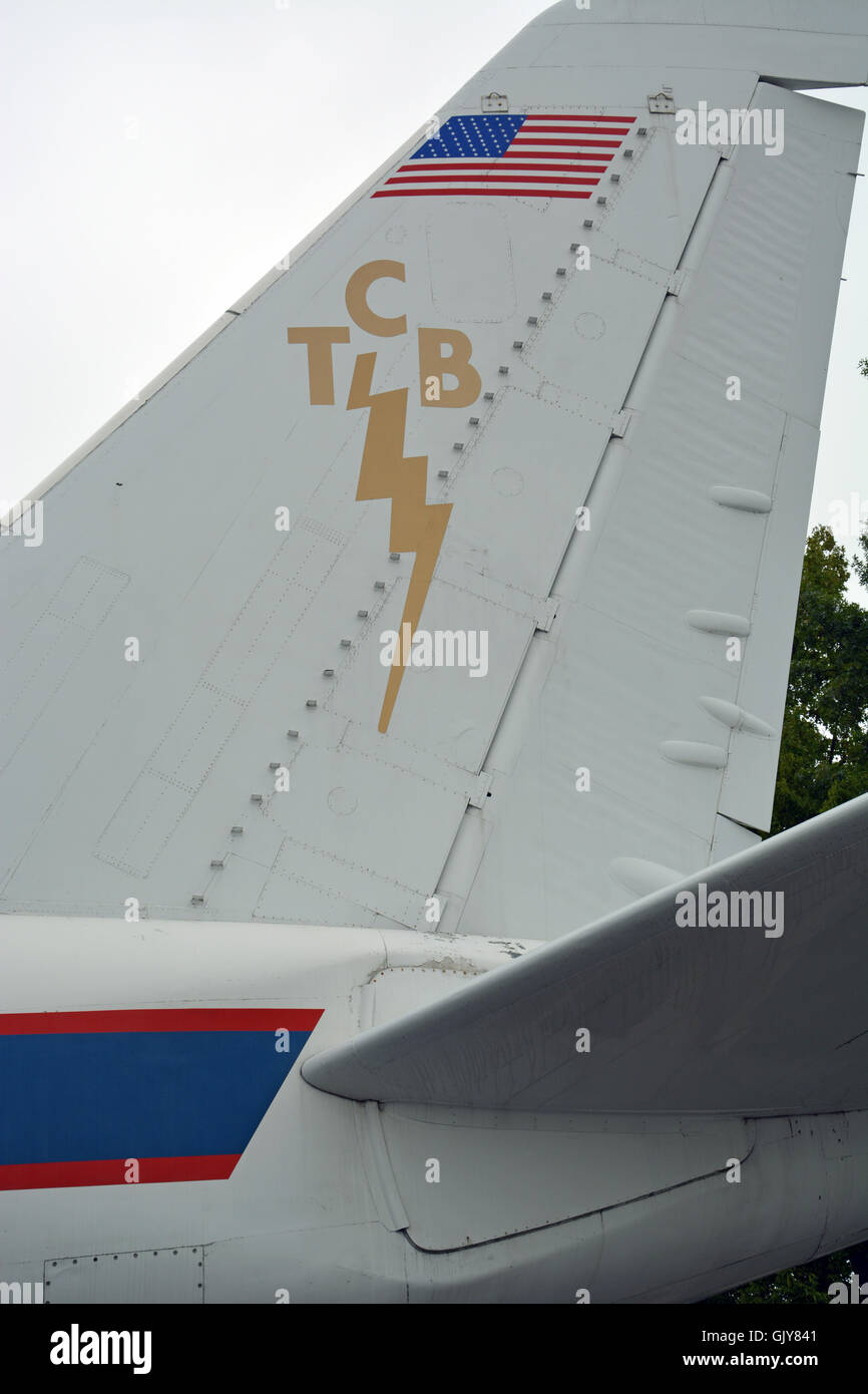 TCB logo on the tail of Elvis' private plane parked at Graceland, Elvis Presley's home and now a museum - Stock Image