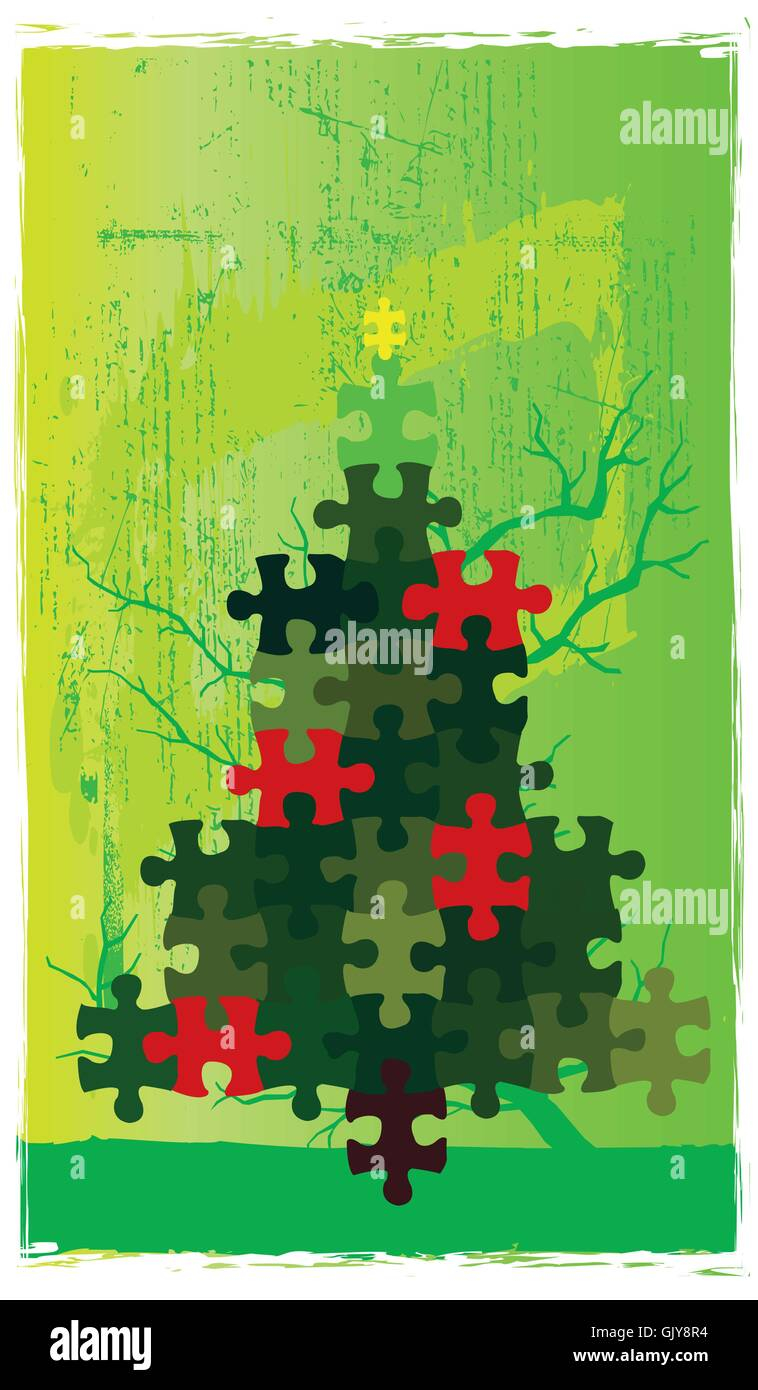 Christmas Puzzle Tree - Stock Vector