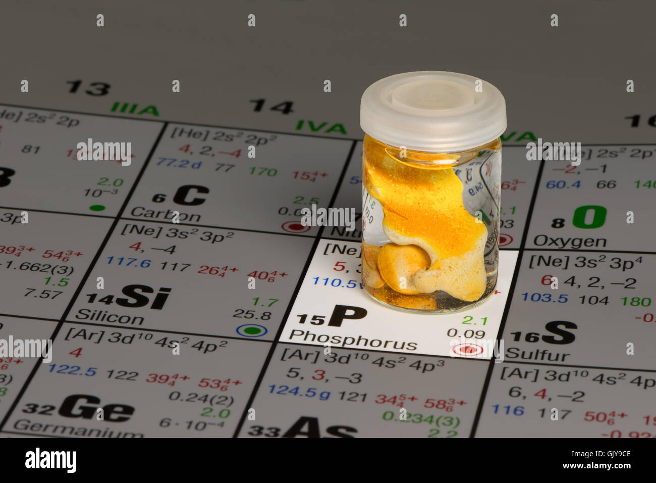 phosphorus on periodic table of elements - Stock Image