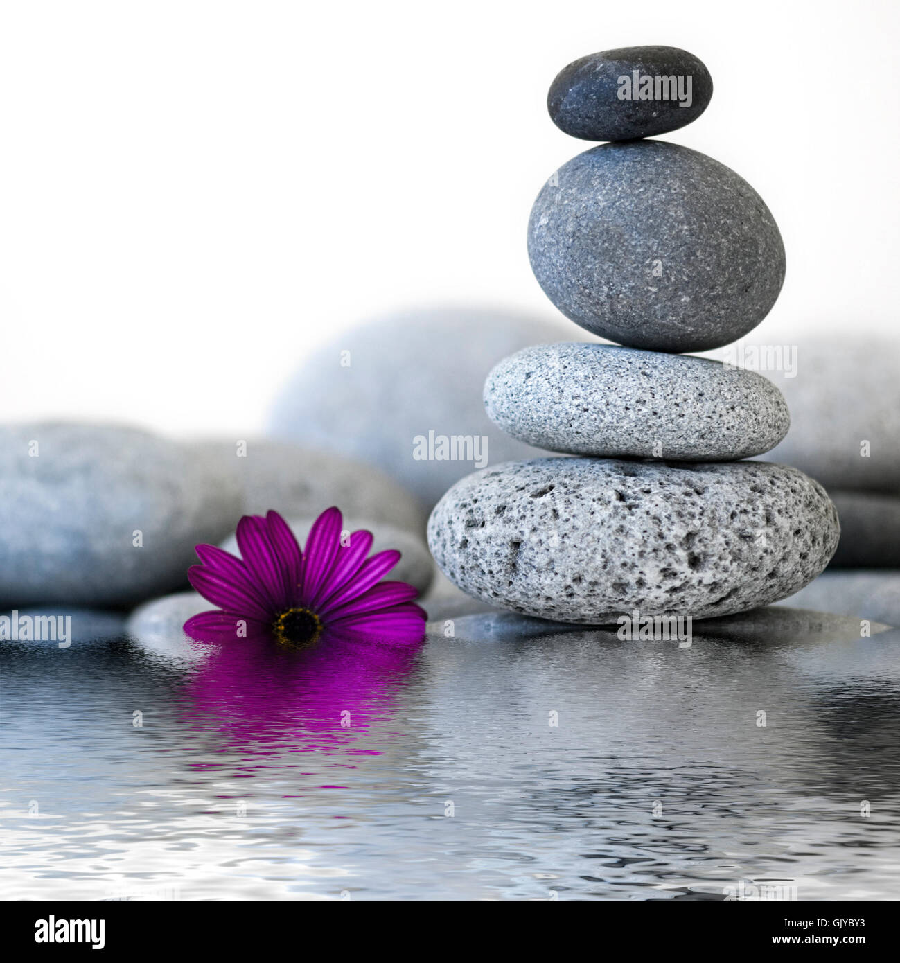 stone tower and water - Stock Image