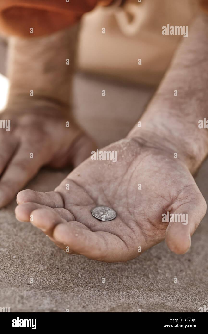 coin beg beggar - Stock Image