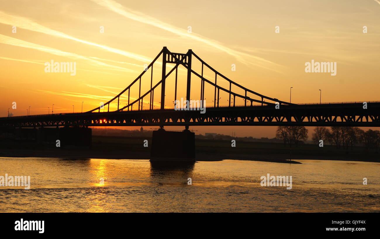 rhine sunrise early - Stock Image