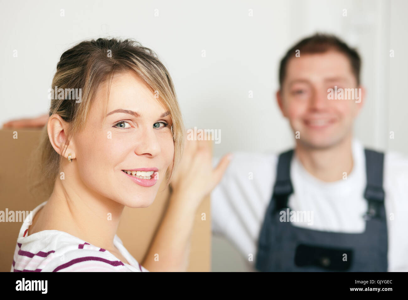 woman moves into her new house Stock Photo