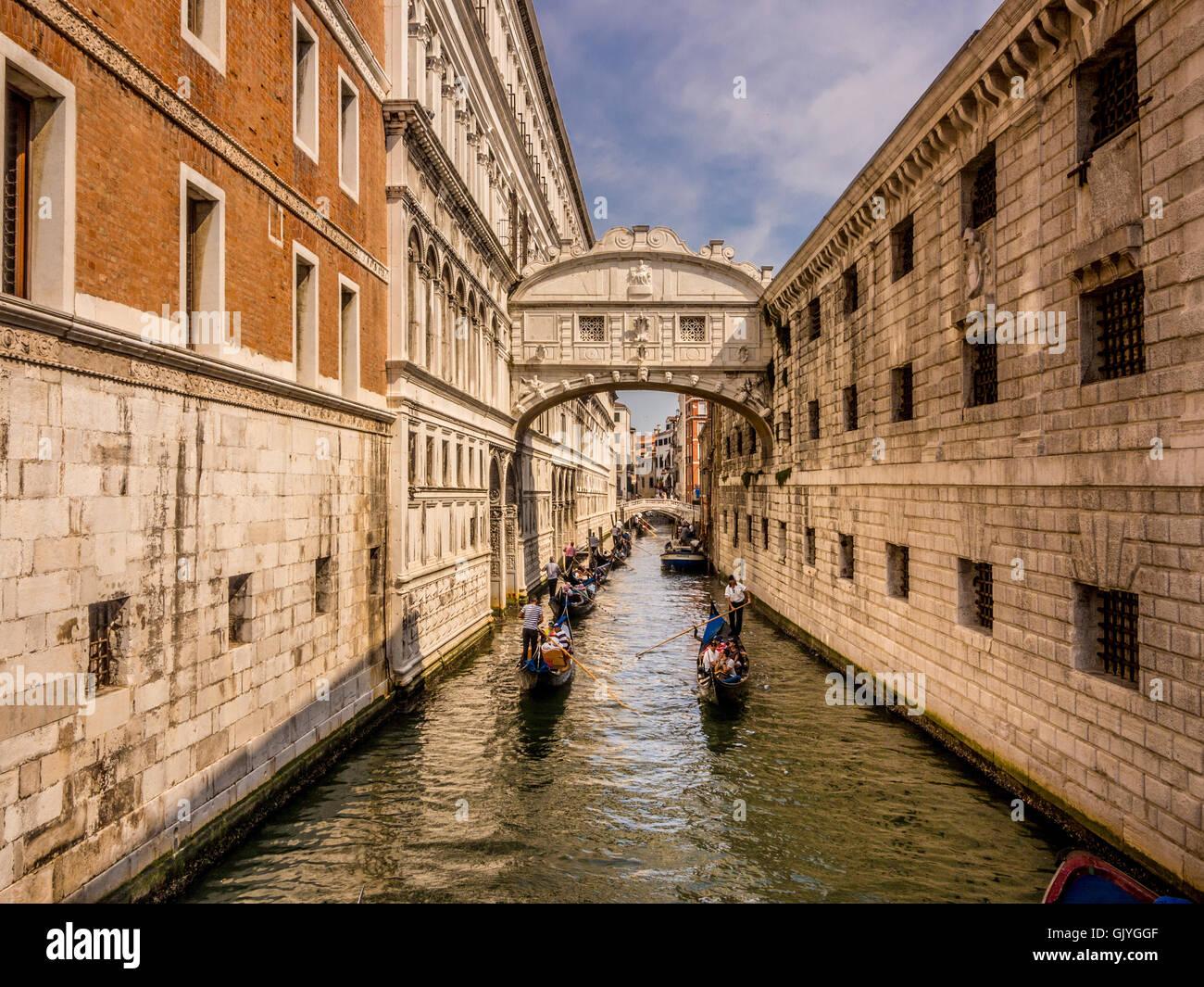 Gondolas heading towards the Bridge of sighs. Venice, Italy. - Stock Image
