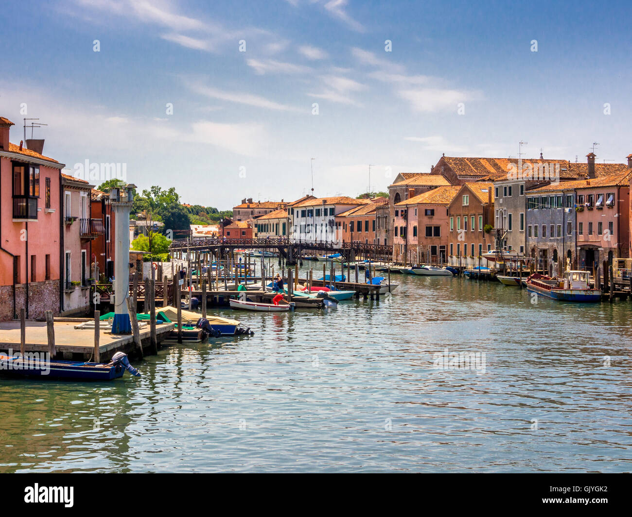 View of the Canale di San Pietro from Ponte di Quintavalle. Venice. Italy. Stock Photo