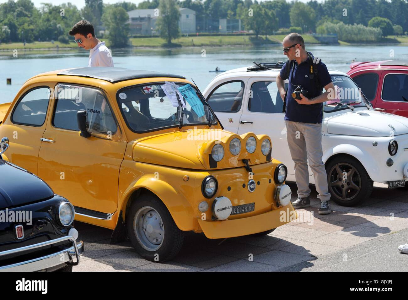 Car Enthusiasts Take Part In The Fiat 500 Rally In Segrate Stock