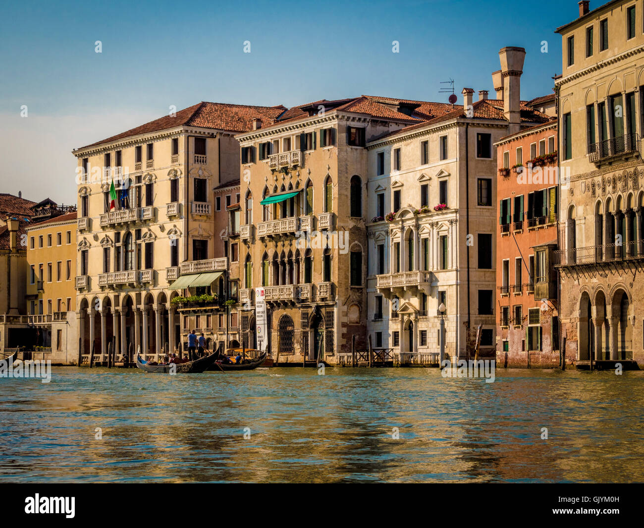 Traditional venetian buildings, including Palazzo Michiel dalle Colonne, along the Grand Canal, Venice. Italy. - Stock Image