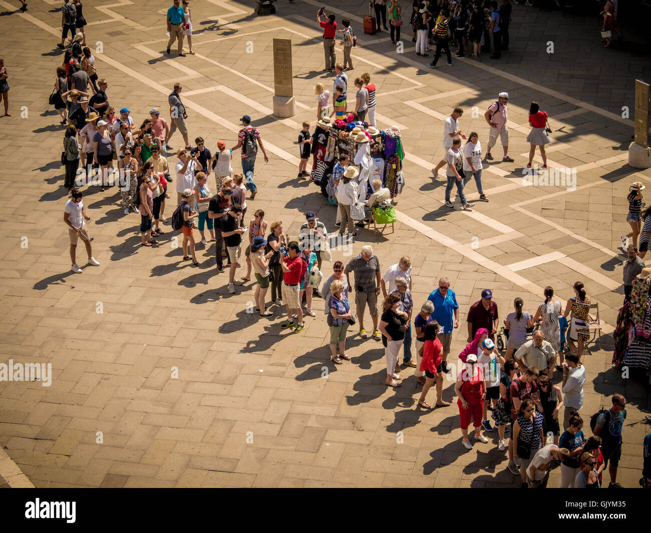 Tourist queuing in line at Piazzetta San Marco, Venice Italy. Stock Photo