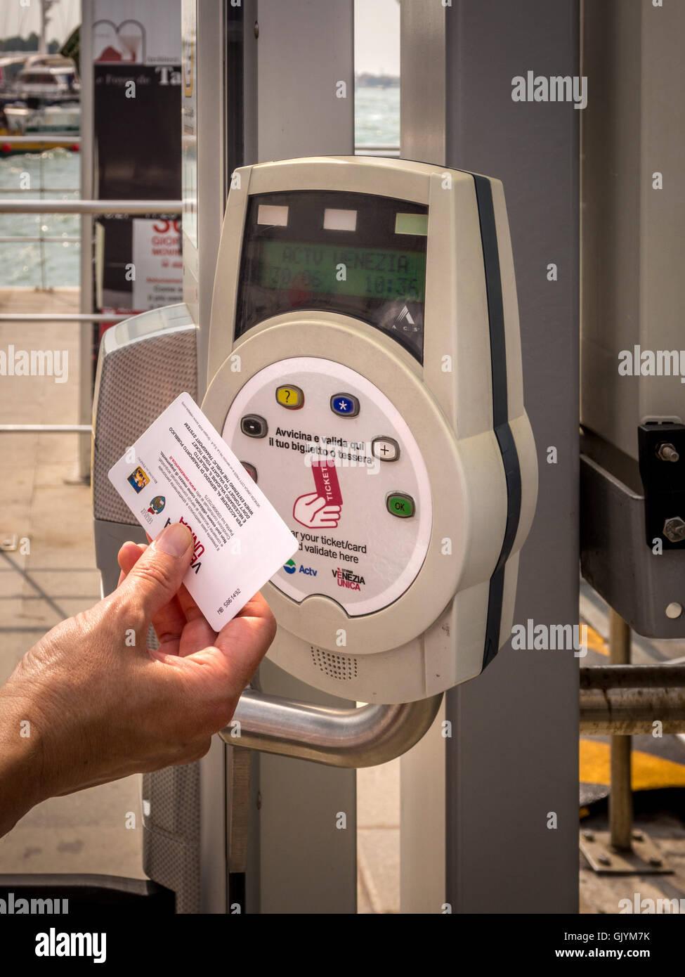 Vaporetto ticket validating terminal, Venice, Italy. - Stock Image