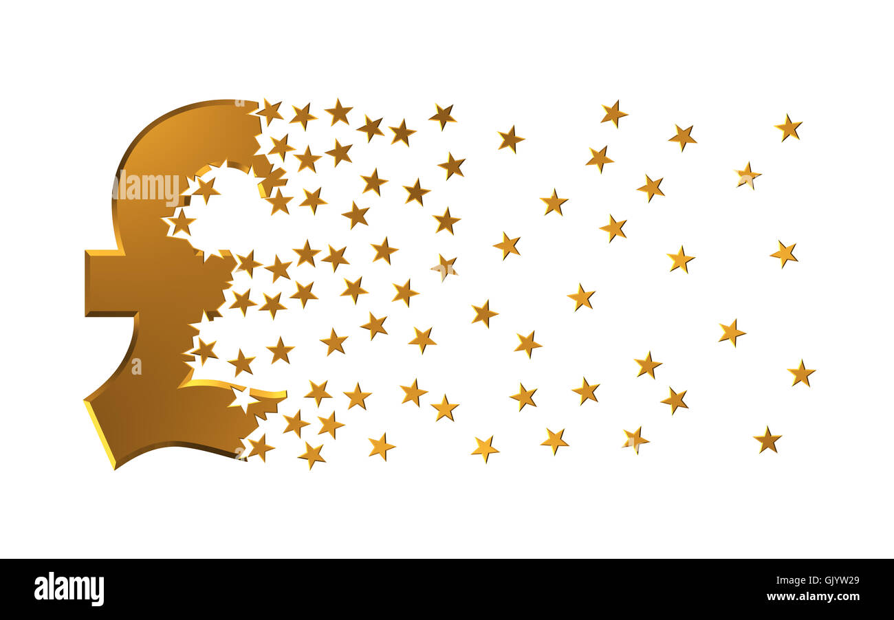 Pound Sterling Sign Falling Apart To Stars - Stock Image