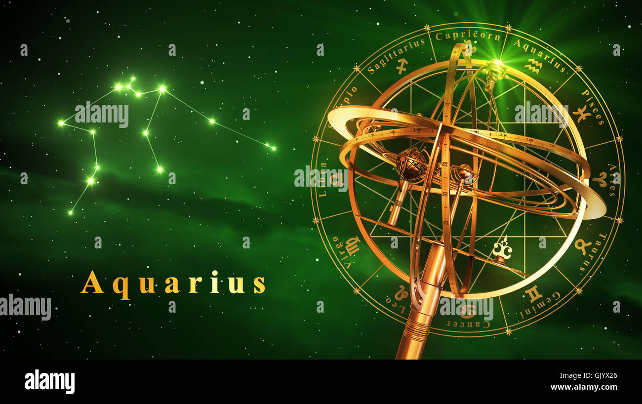 Armillary Sphere And Constellation Aquarius Over Green Background. 3D Illustration. - Stock Image