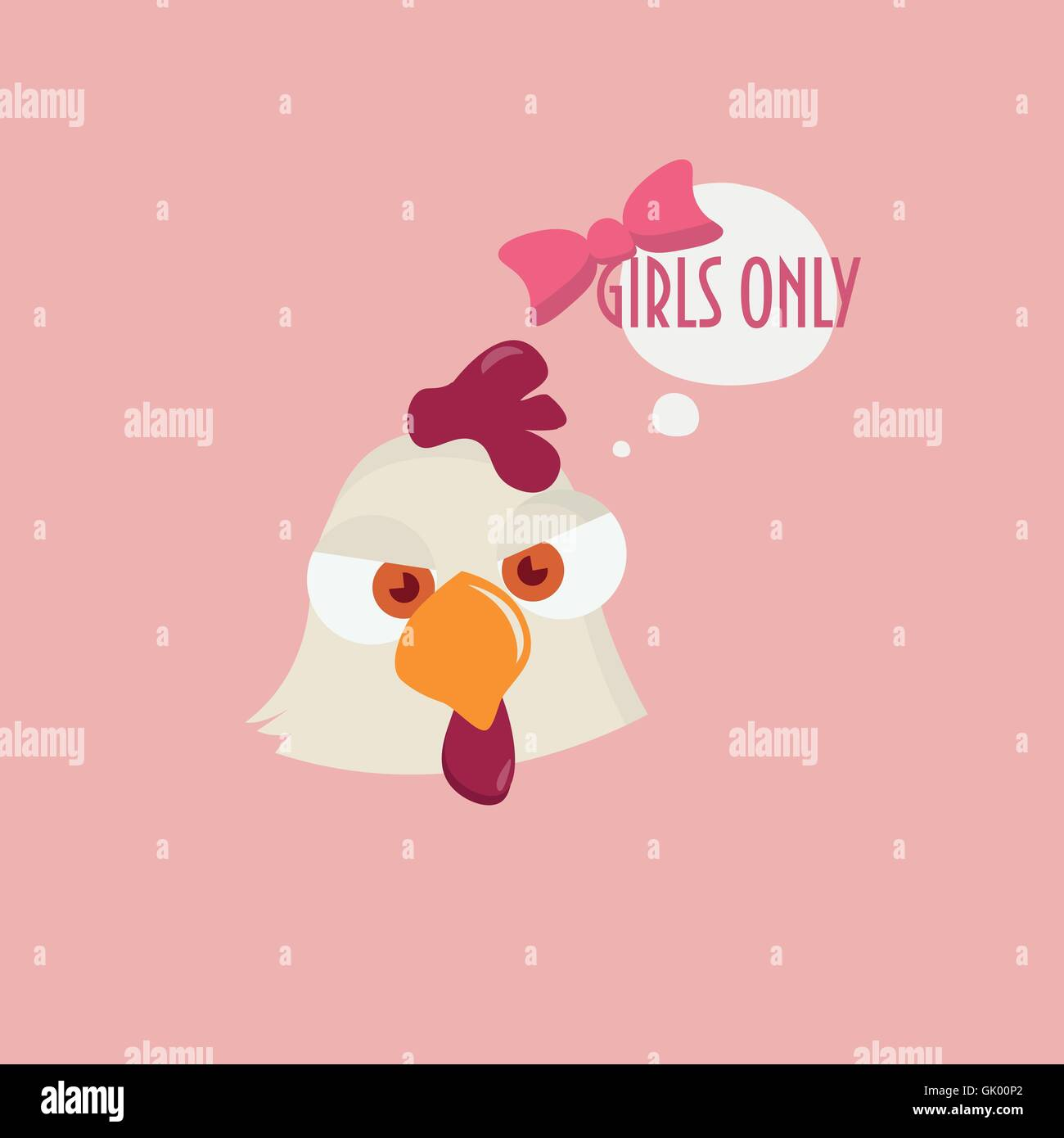 Hen Saying 'girls only!' could be used as Girls Only sign during Hen Party or as Banner, Poster, price tag, - Stock Image