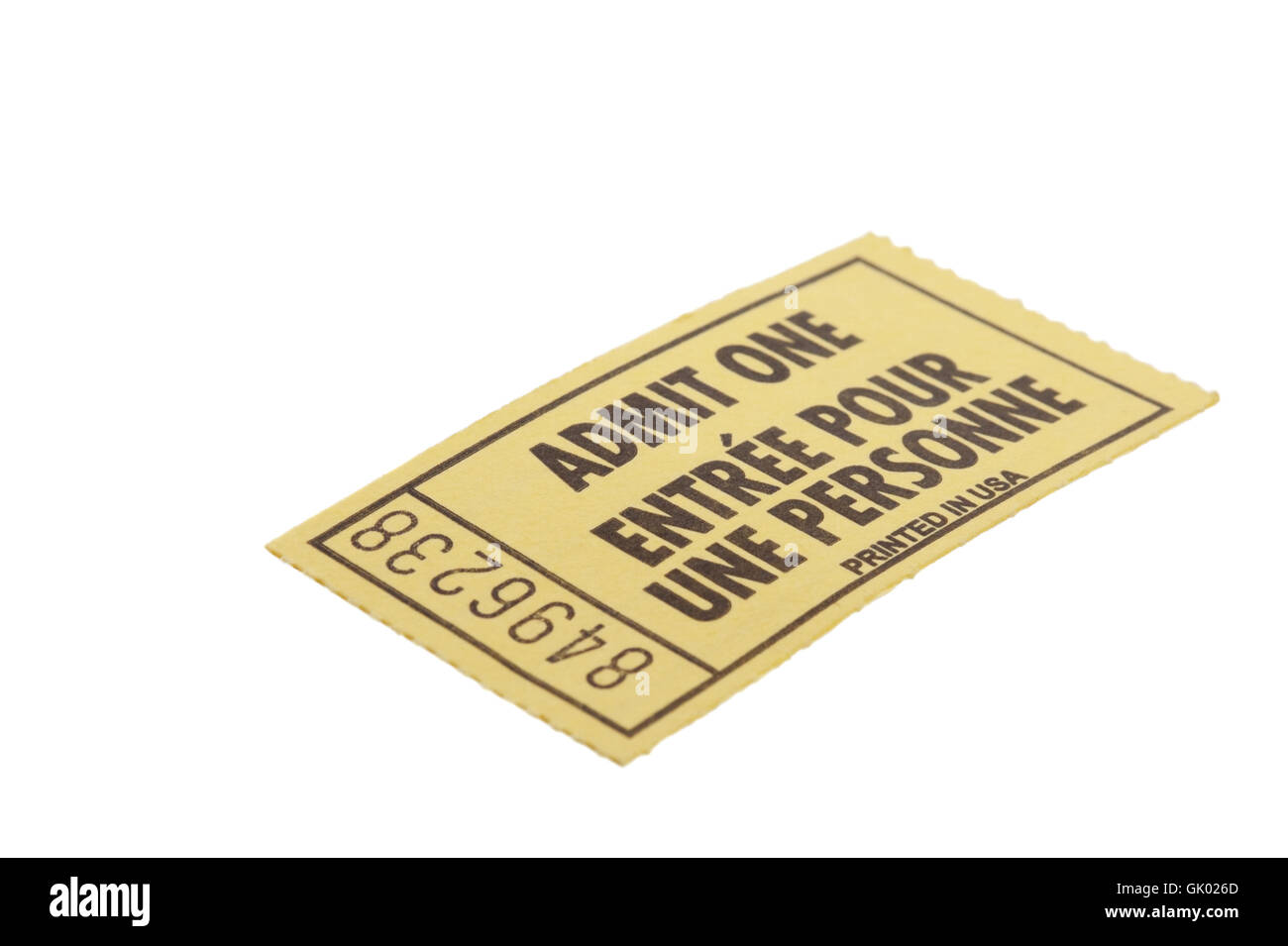 yellow ticket indicate - Stock Image