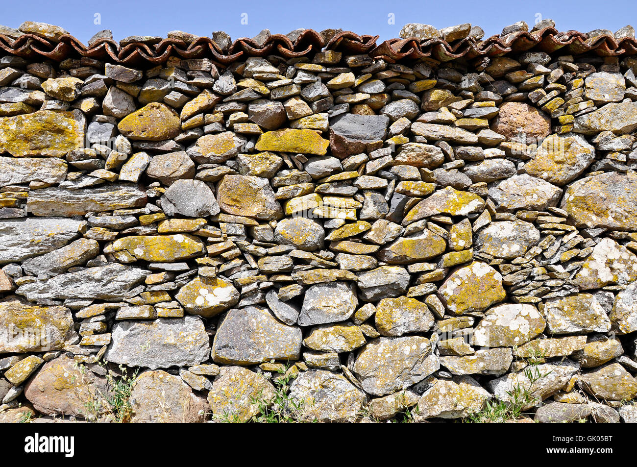 natural stone wall - Stock Image