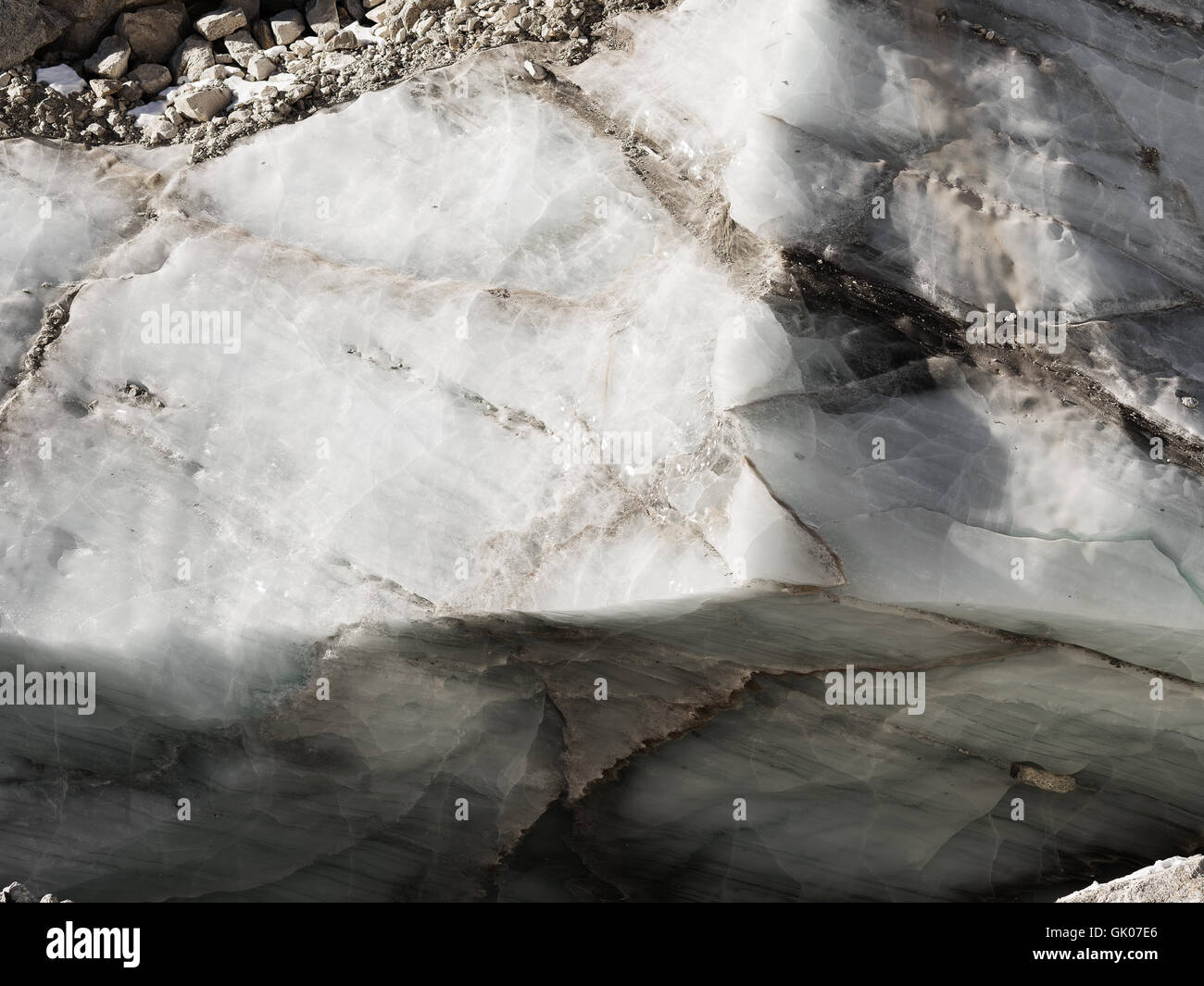 Glacier on the Everest Base Camp trail - Stock Image