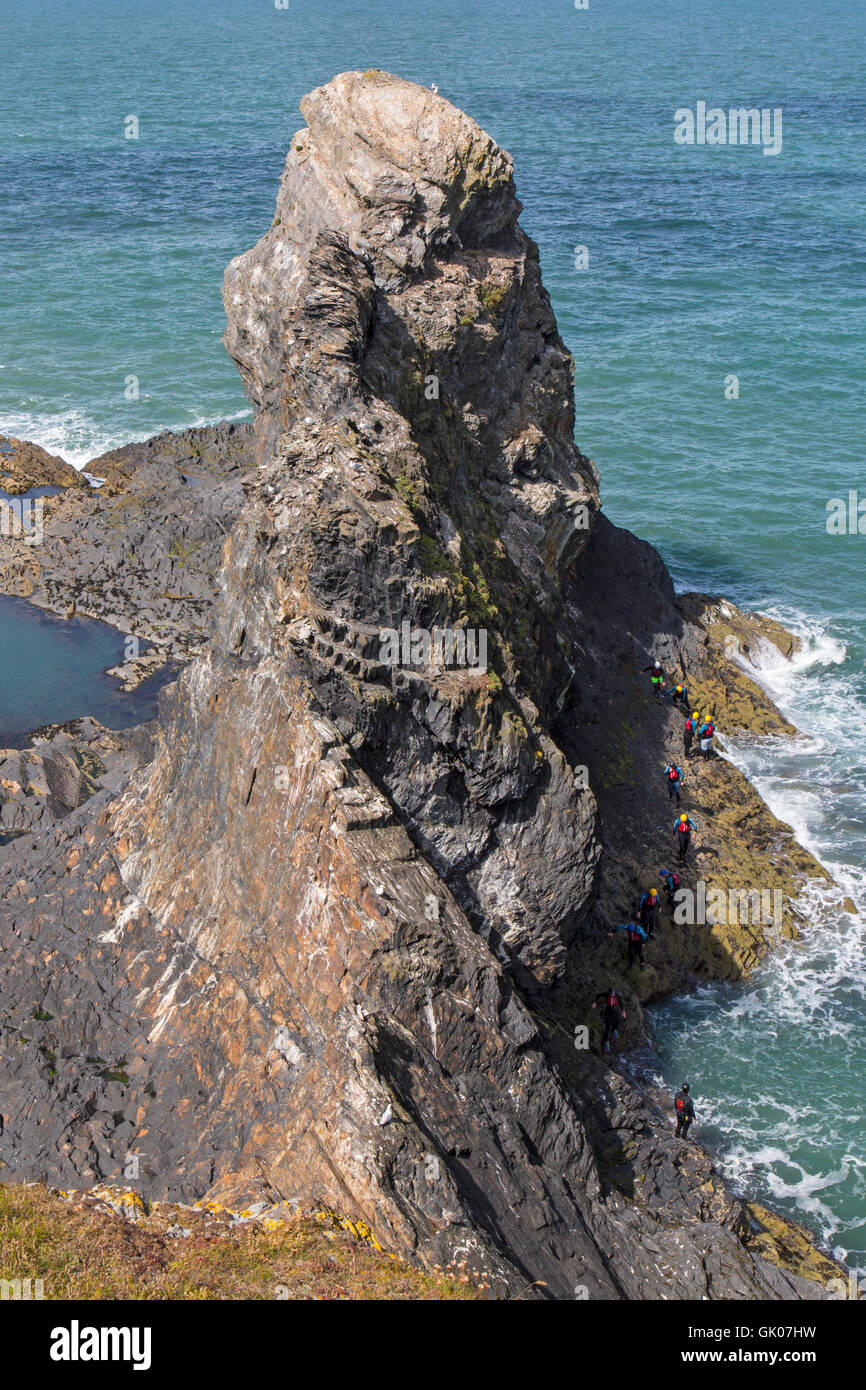 The Pembrokeshire Coast Path (Welsh: Llwybr Arfordir Sir Benfro), also often called the Pembrokeshire Coastal Path, - Stock Image