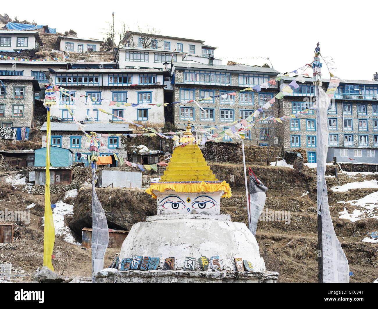 Shrine in Namche, Nepal - Stock Image