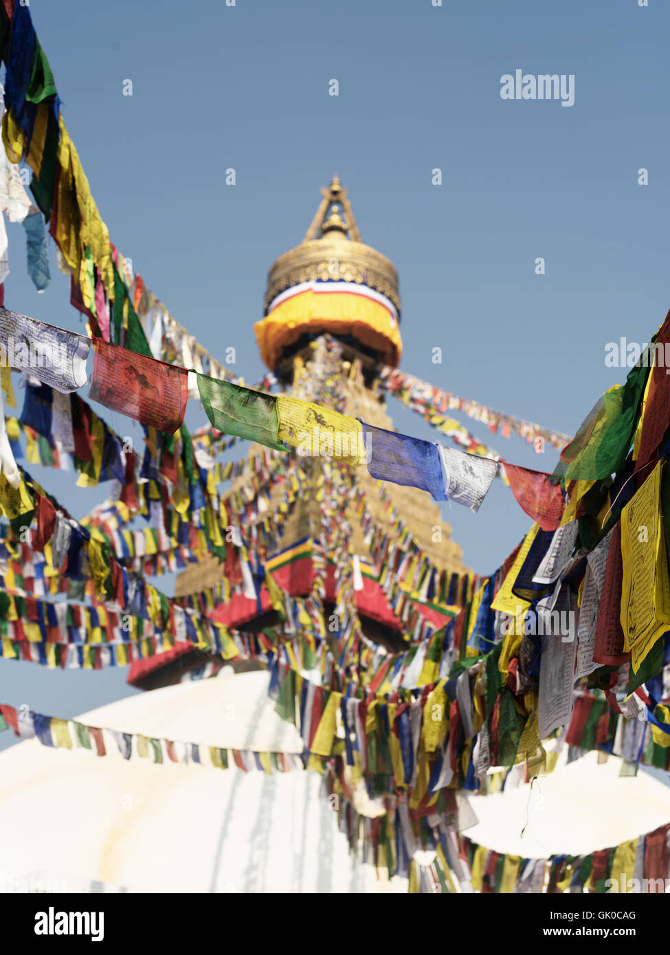 Prayer flags around the Boudhanath Pagoda in Kathmandu, Nepal. - Stock Image