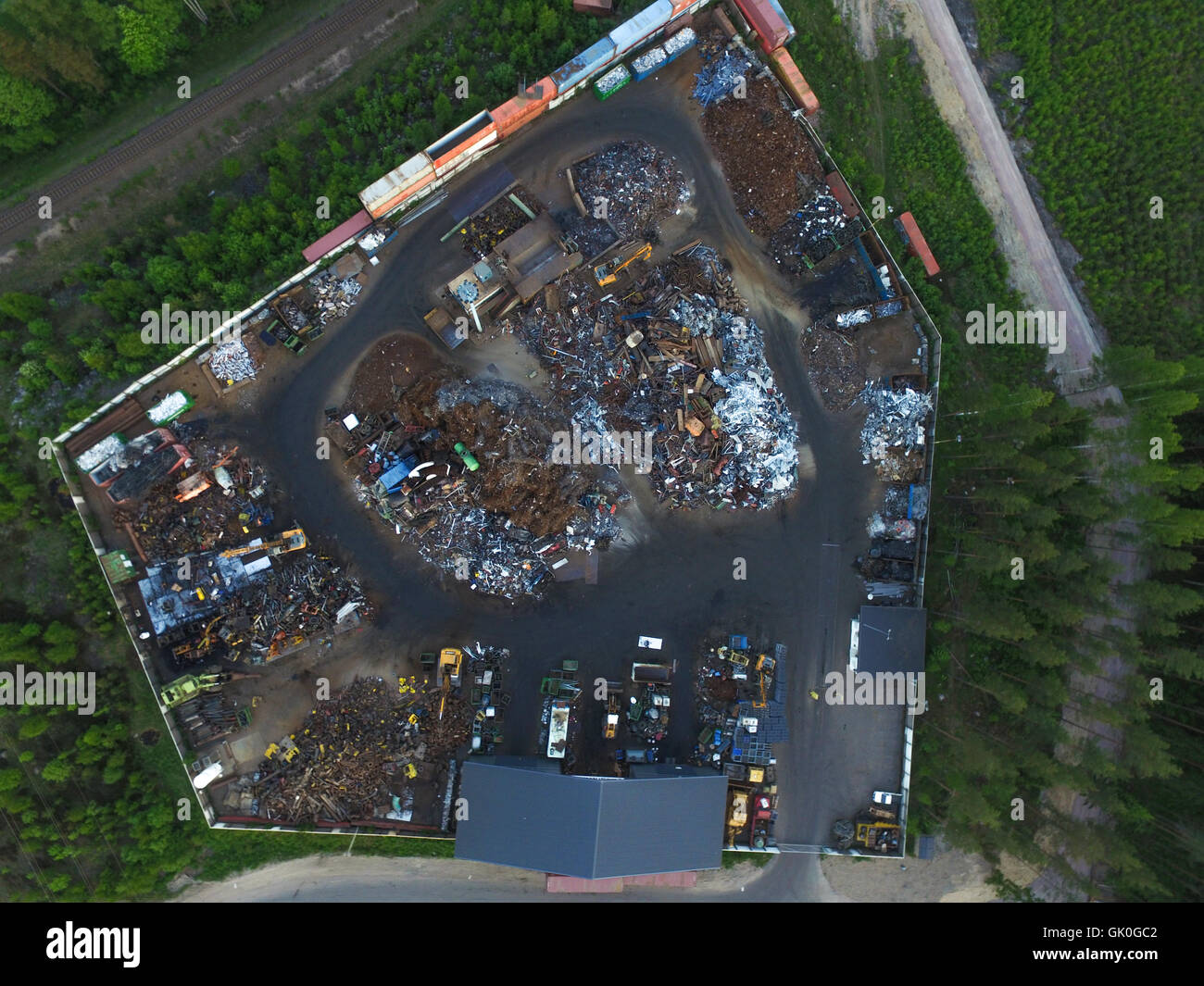 Aerial view on a junk yard or a dumb, in raasepori, finland Stock Photo