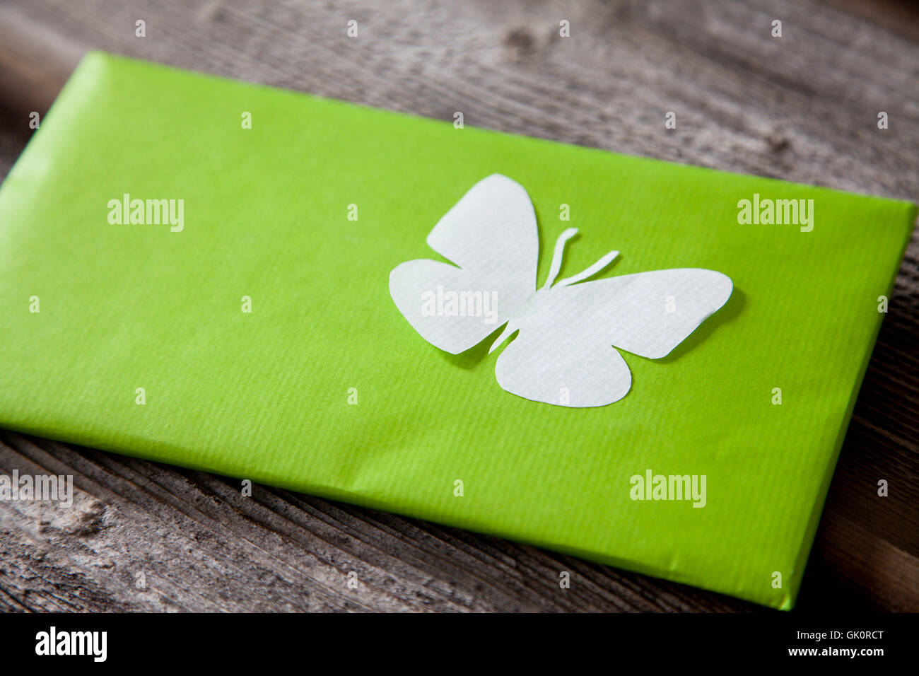 butterfly gift love letter - Stock Image