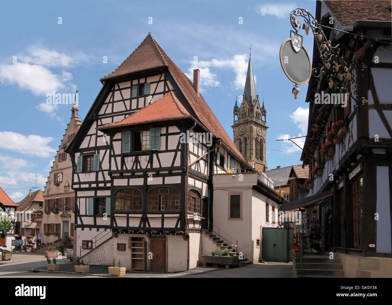 half-timbered houses in the village center Stock Photo