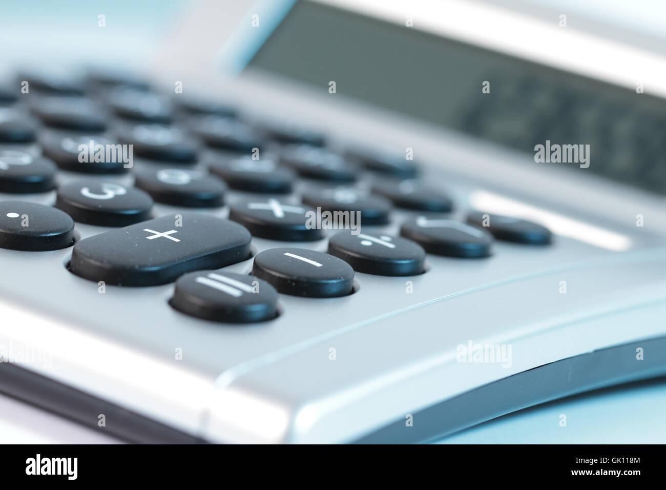 pocket calculator invoice result - Stock Image