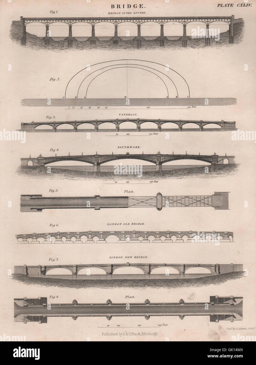 LONDON BRIDGES Vauxhall Southwark old & new London bridge. Louvre, print 1860 - Stock Image
