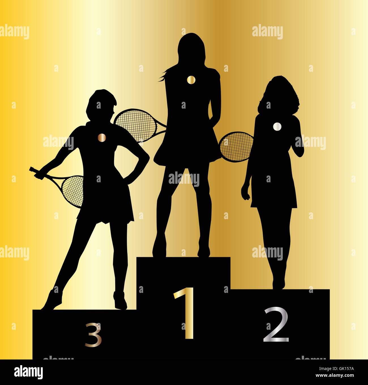 Ladies Tennis Champions Stock Vector