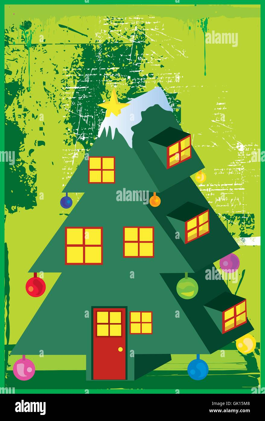 Christmas Tree House Electric - Stock Vector